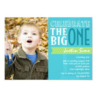 "The Big One - Blue Birthday Invitation 5"" X 7"" Invitation Card"