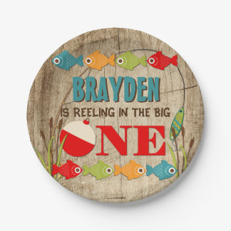 The Big One Fishing Theme Boys First Birthday Paper Plate