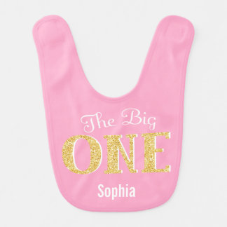 The Big One Pink Gold 1st Birthday Personalized Baby Bibs