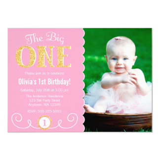 The Big One Pink Gold 1st Birthday Photo 11 Cm X 16 Cm Invitation Card