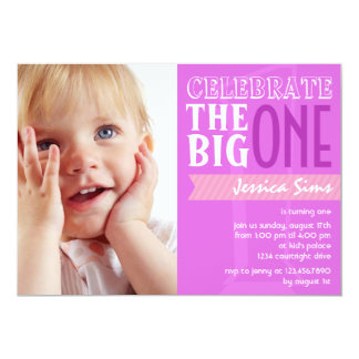The Big One - Purple Birthday Invitation