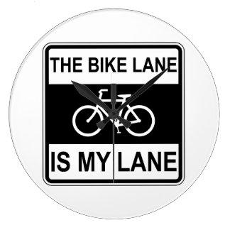 The Bike Lane Sign Large Clock