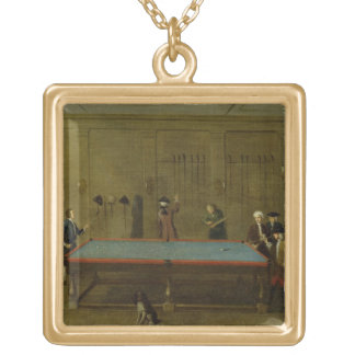 The Billiard Room (oil on canvas) Gold Plated Necklace
