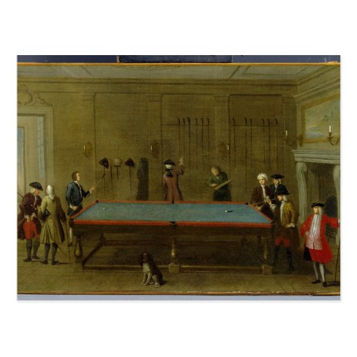The Billiard Room (oil on canvas) Postcard