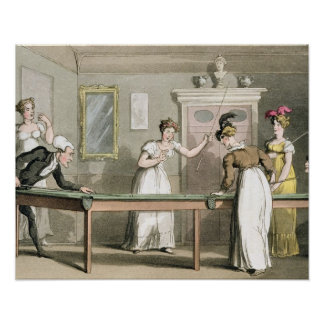 The Billiard Table, from 'The Tour of Dr Syntax in Poster