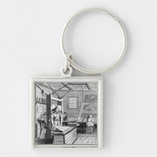 The Bindery of Laurens Janszoon Koster Silver-Colored Square Key Ring