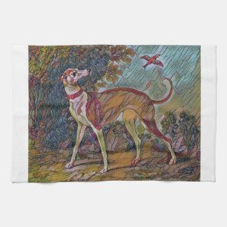 The Bird-Watching Greyhound Tea Towel