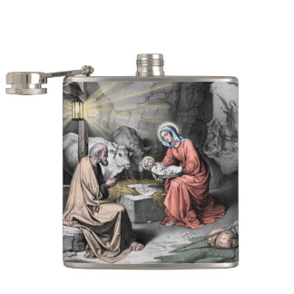 The birth of Christ Hip Flask