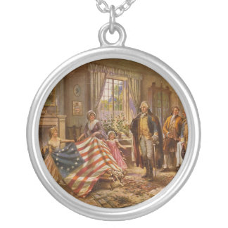 The Birth of Old Glory by Percy Moran Round Pendant Necklace