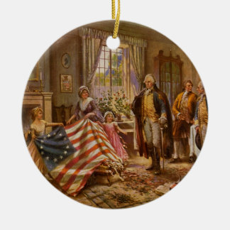 The Birth of Old Glory by Percy Moran Round Ceramic Decoration
