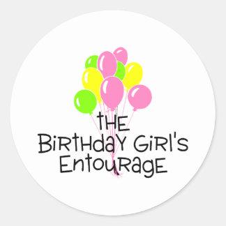 The Birthday Girls Entourage Round Sticker