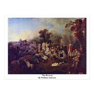 The Bivouac By Watteau Antoine Postcard