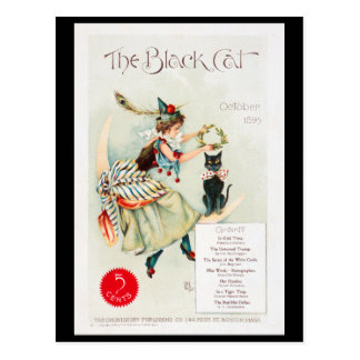 The Black Cat Vintage 1895 art print postcard