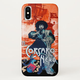 THE BLACK CORSAIR /Pirate Ship Battle In Red iPhone X Case