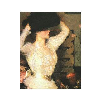 The Black Hat by Frank Weston Benson Fine Arts Canvas Print
