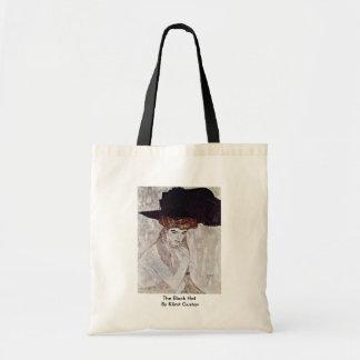 The Black Hat By Klimt Gustav Tote Bags