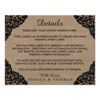 The Black Lace On Rustic Burlap Wedding Collection 11 Cm X 14 Cm Invitation Card