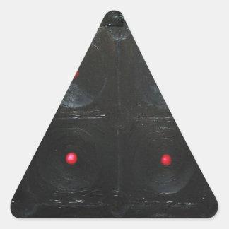The Black Red Dents ( black minimalism ) Triangle Sticker