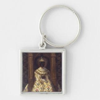 The Black Virgin in the Chadaraita Silver-Colored Square Key Ring