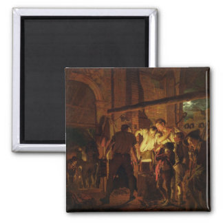 The Blacksmith's Shop (oil on canvas) Square Magnet