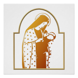 The Blessed Virgin Mary holding Baby Jesus Poster