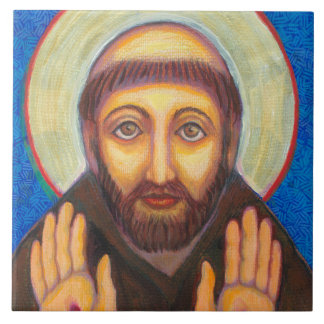 """""""The Blessing of St Francis"""" Large Square Tile"""