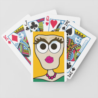 the blonde doll face bicycle playing cards