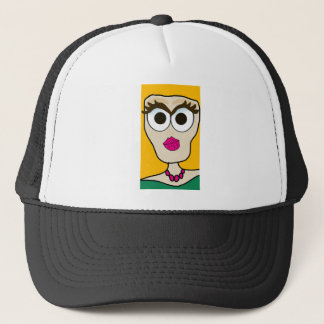 the blonde doll face trucker hat
