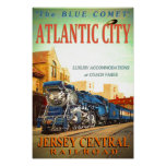 The Blue Comet Train Glossy Poster