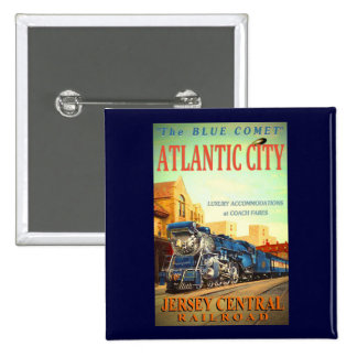 The Blue Comet Train Pinback Button
