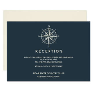 The Blue Compass | Wedding Reception Enclosure Card