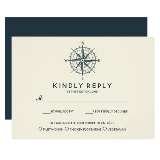 The Blue Compass | Wedding RSVP with meal choise Card