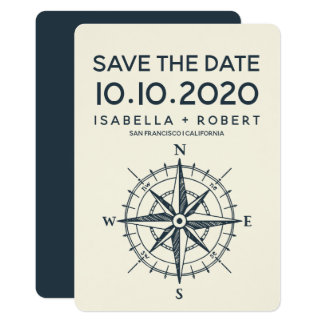 The Blue Compass | Wedding Save the Date Card