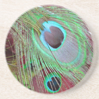 The Blue Eye peacock flowing feather. Coaster