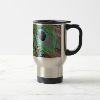 The Blue Eye peacock flowing feather. Travel Mug