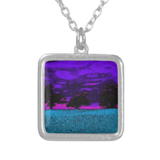 THE BLUE FIELD SILVER PLATED NECKLACE