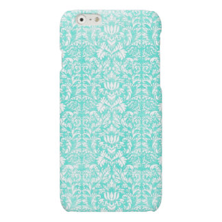 The Blue Green Floral Damask Aged Print Pattern