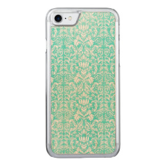 The Blue Green Floral Damask Aged Print Pattern Carved iPhone 8/7 Case