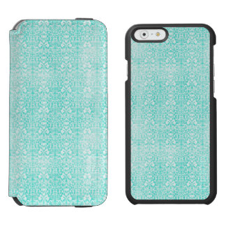 The Blue Green Floral Damask Aged Print Pattern Incipio Watson™ iPhone 6 Wallet Case