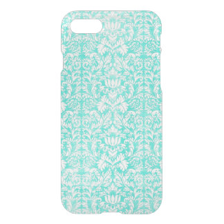 The Blue Green Floral Damask Aged Print Pattern iPhone 7 Case