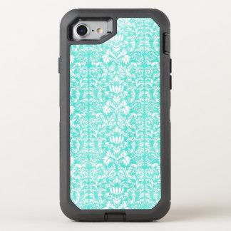The Blue Green Floral Damask Aged Print Pattern OtterBox Defender iPhone 7 Case