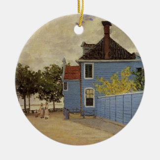 The Blue House at Zaandam by Claude Monet Ceramic Ornament