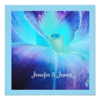"""The Blue Orchid Wedding Invitation 5.25"""" Square Invitation Card"""