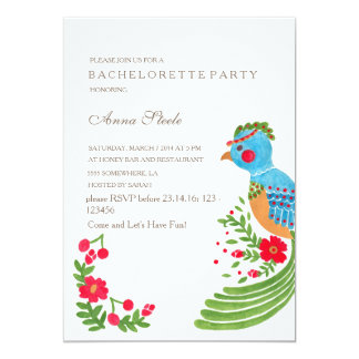 The Blue Quetzal Bachelorette Party Invitation