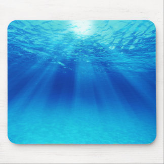 The blue underwater scenery where light or ゙ it mouse pad