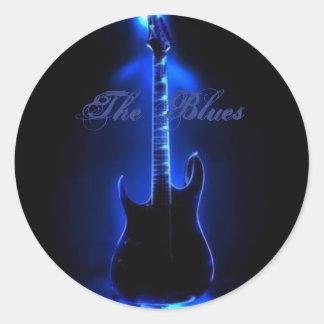 The Blues Guitar Image On Round Stiker Classic Round Sticker