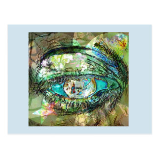 The Bluest Eye Photo in Montage with Fractals Postcard