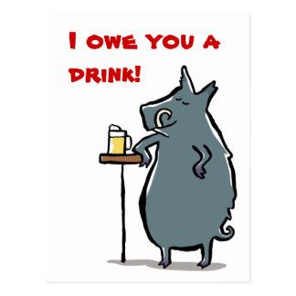 the boar has a beer at the bar - customizable postcard