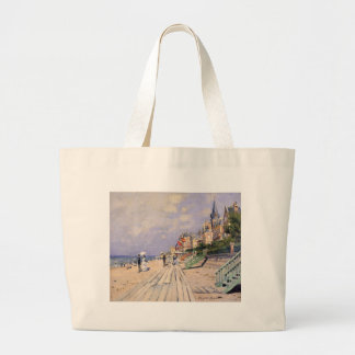The Boardwalk at Trouville Claude Monet Large Tote Bag