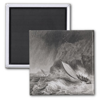The boats off Walden Island in a snow storm, Augus Square Magnet